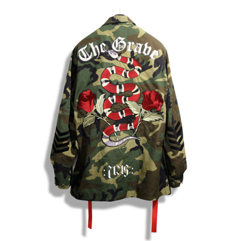 [THE GRAVE] SNAKE & ROSE EMBROIDERY WOODLAND JACKET