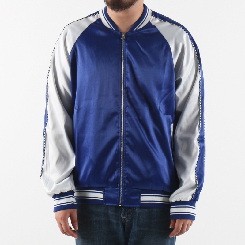 [$ SHOP SALE] [EPTM] PLAIN SATIN JACKET (BLUE/IVORY)