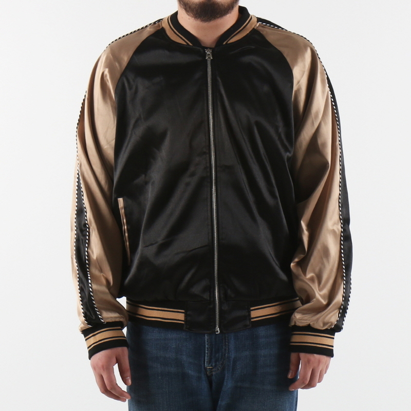 [$ SHOP SALE] [EPTM] PLAIN SATIN JACKET (BLK/TAN)