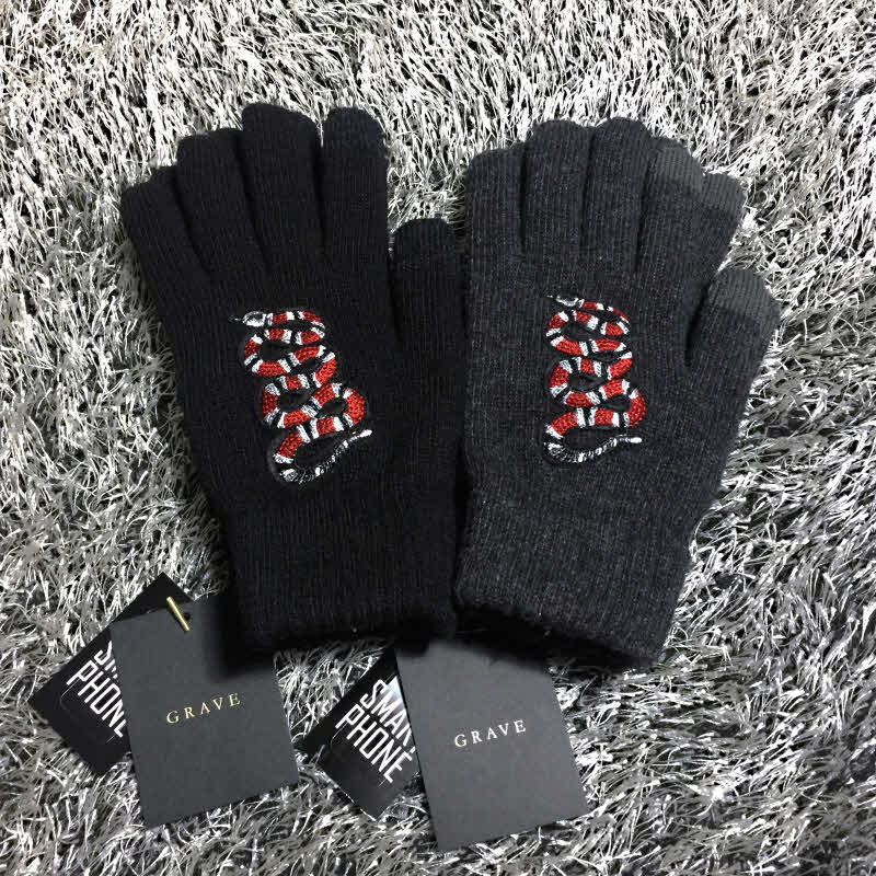[THE GRAVE] SNAKE EMBROIDERY GLOVES