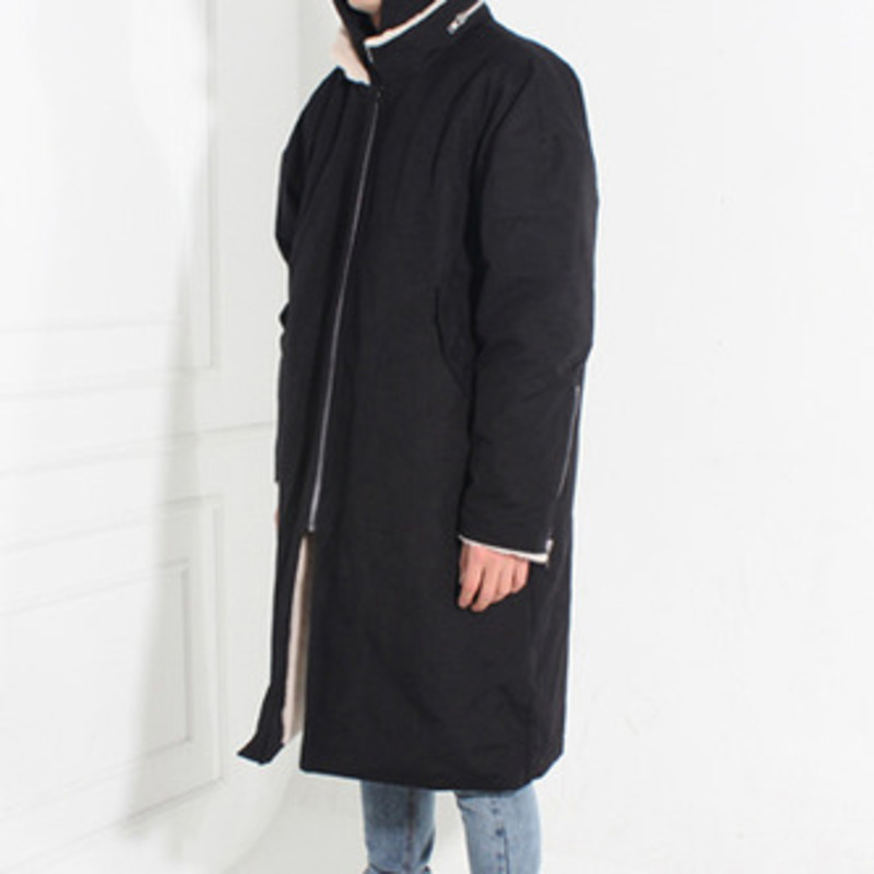 [BURJ SURTR] MILITARY ANORAK COAT BLACK