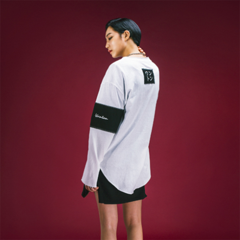 [WANTON] ARM&NECK PATCH POINT LONG SLEEVE (WHITE)
