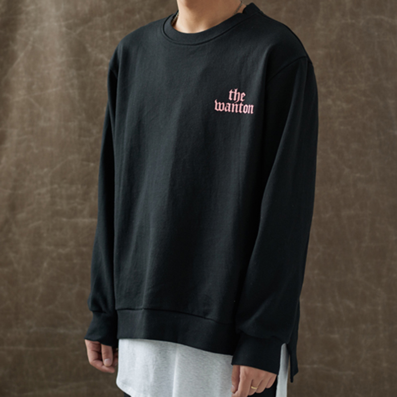 [WANTON] BASIC SWEATSHIRTS - BLACK