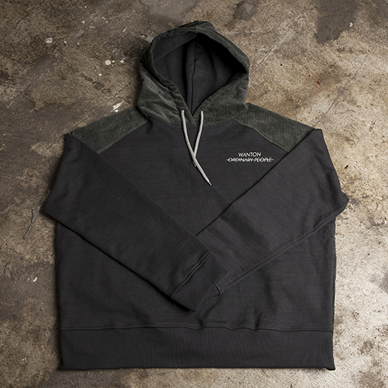 [WANTON] WANTON COTTON/CORDUROY HOODIE DARKGRAY