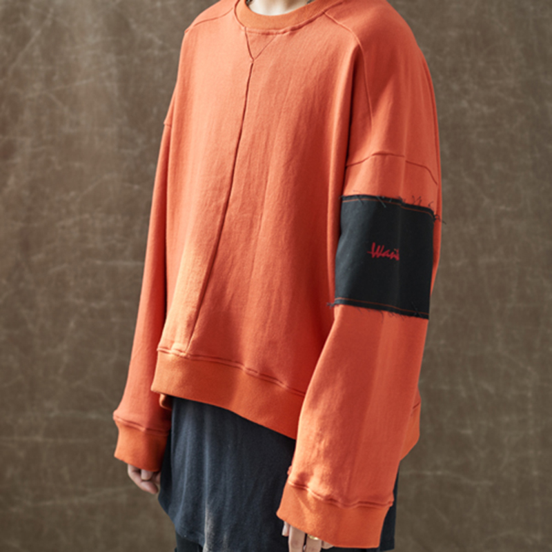 [WANTON] OVERSIZE BOX SWEATSHIRTS - ORANGE