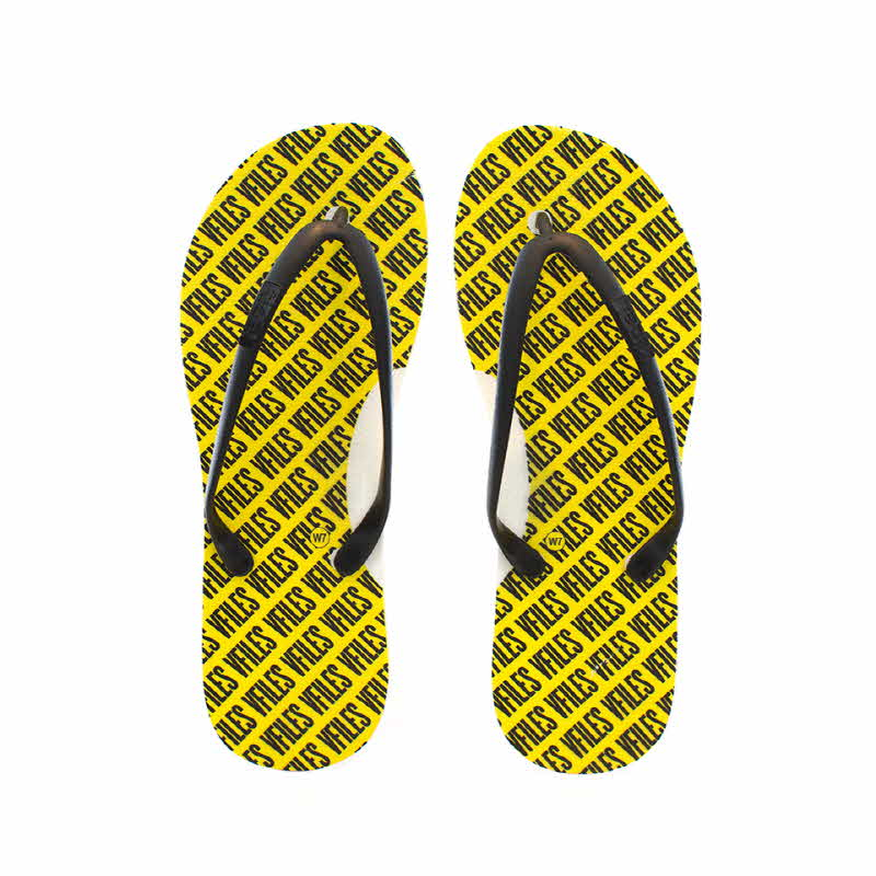 [VFILES] PRINTED FLIP FLOPS - BLACK/YELLOW