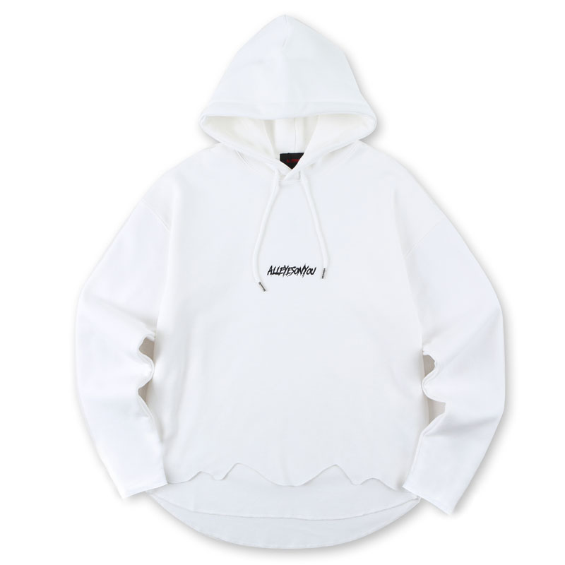 [ALLEYESONYOU] CUT-OFF WHITE HOOD T-SHIRT