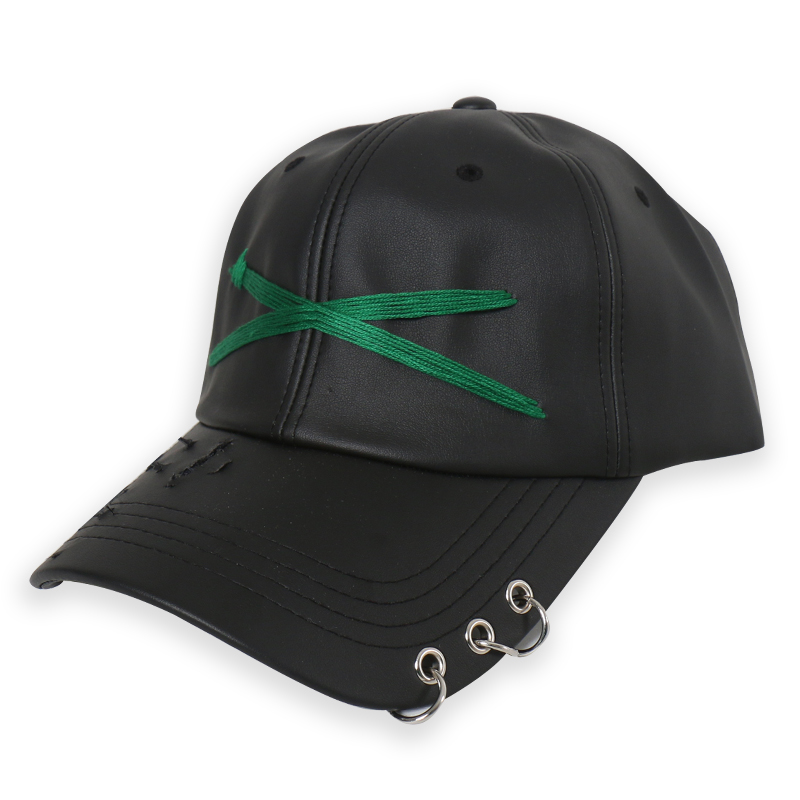 [DOLM] X LOGO LEATHER CAP BLACK/GREEN