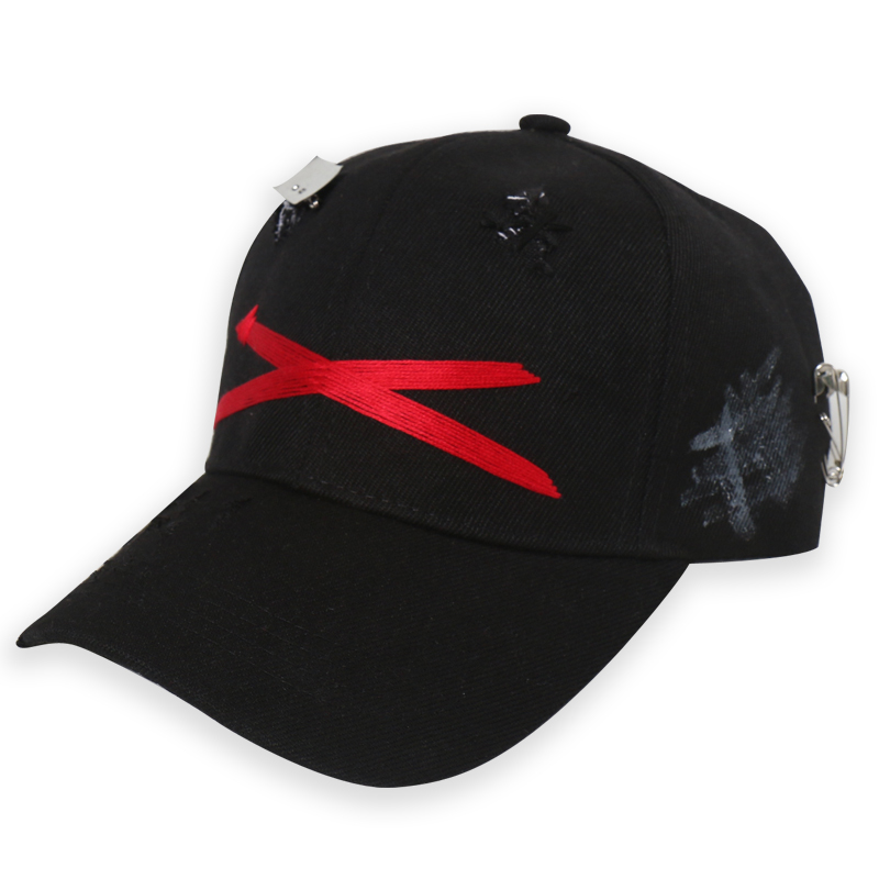 [DOLM] X LOGO PREMIUM CAP BLACK/RED