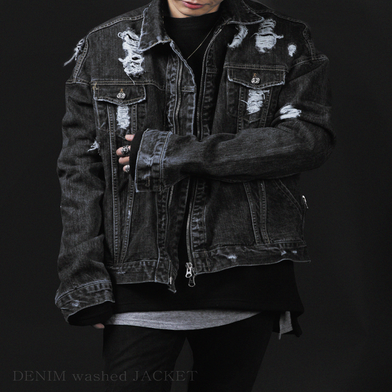 [INNOVANT] DENNIM WASHED JACKET (BLACK)