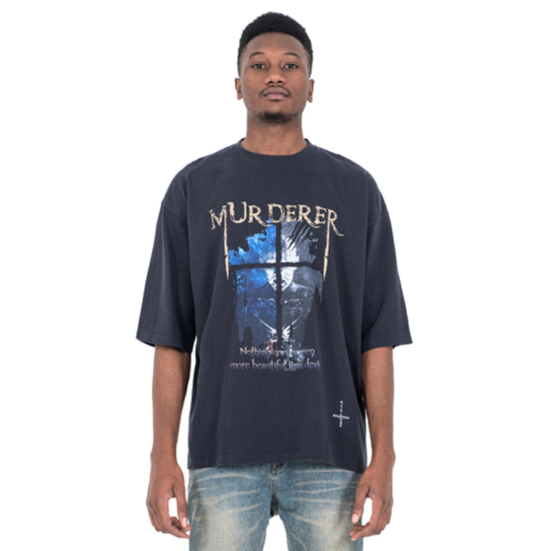[SAINT SHOW] MUDERER 3/4 SLEEVE T-SHIRT - DUST NAVY