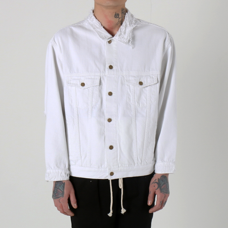 [쿠드그라스 연말 FINAL SALE] [EPTM] DISTRESSED DENIM JACKET (FROST WHITE)