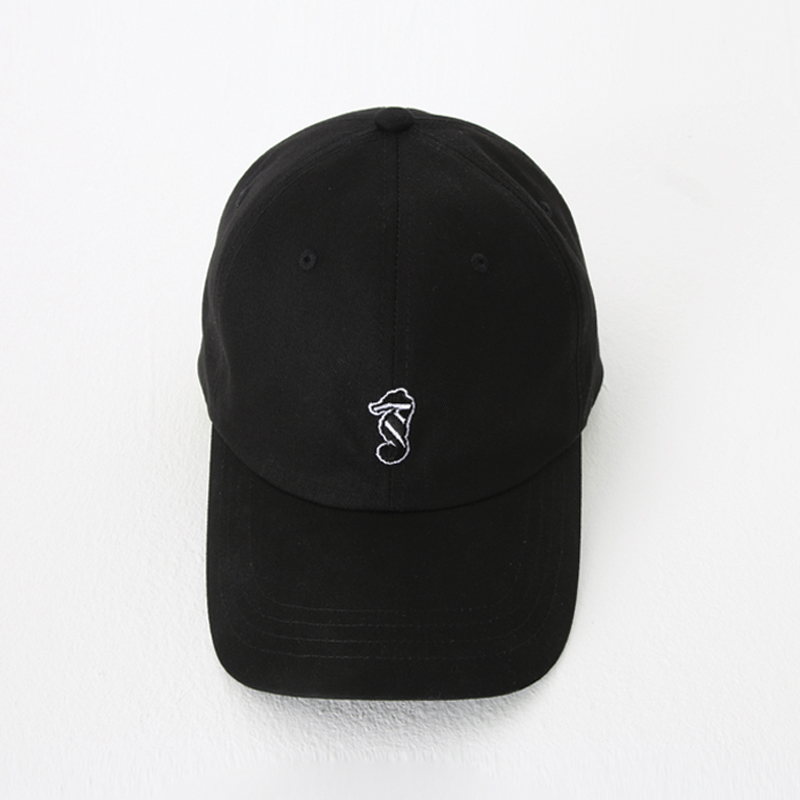 [THANKS FATHER] 2 TONE SEAHORSE LOGO BASEBALL CAP (BLACK)