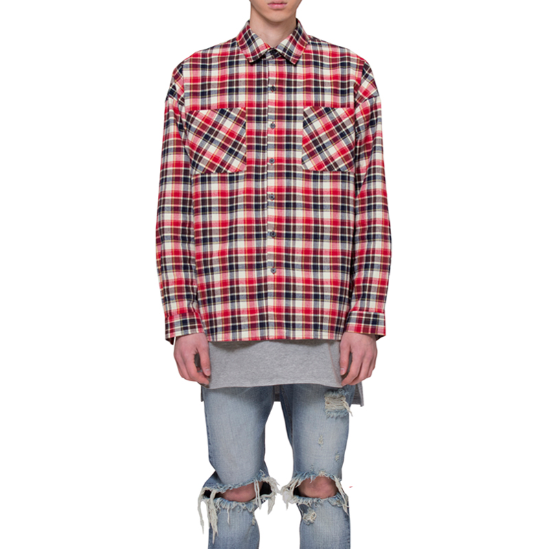 [RCNP] OVERSIZED FLANNEL SHIRTS (WHITE/RED)