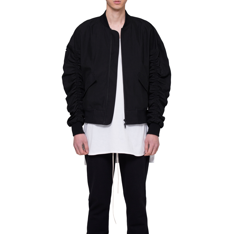 [RCNP] SHIRRING BOMBER JACKET (BLACK)