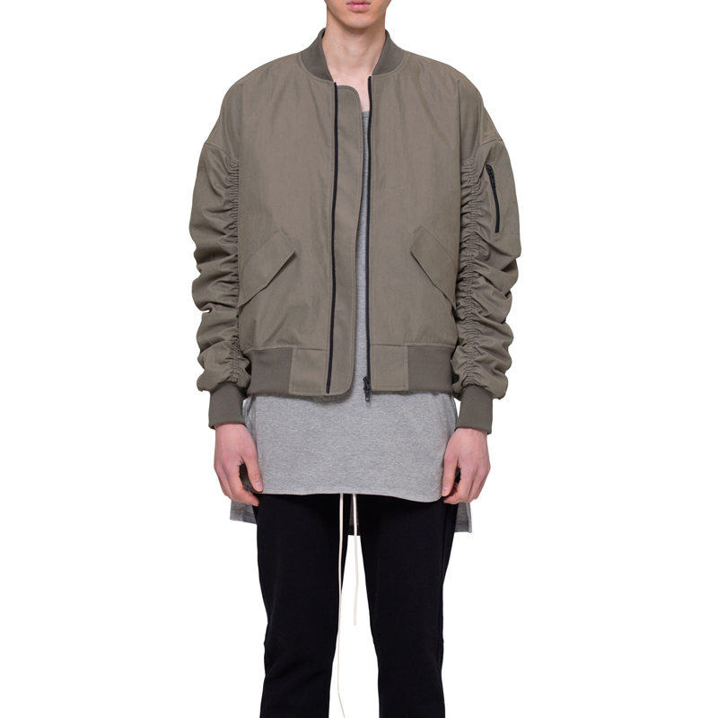 [RCNP] SHIRRING BOMBER JACKET (KHAKI/GRAY)