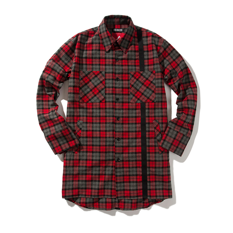 [ANTIMATTER] CHECK TECH LONG SHIRTS (RED)