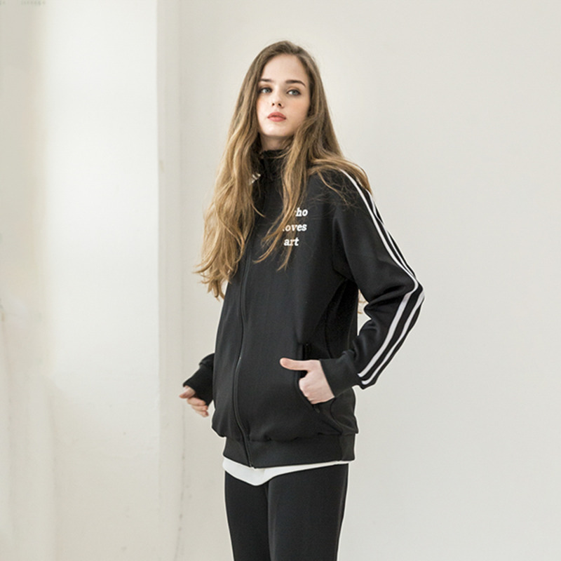 [WHOLOVESART] UNISEX WLA TRACKSUIT JACKET (BLACK)