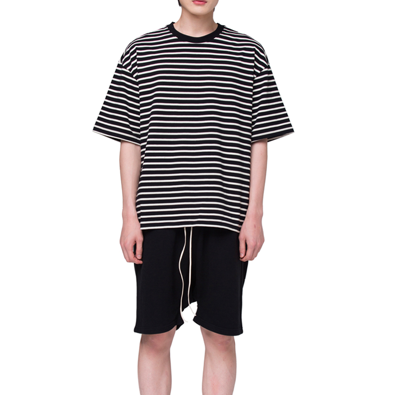 [RCNP] OVERSIZED STRIPE T-SHIRT (BLACK CREAM)