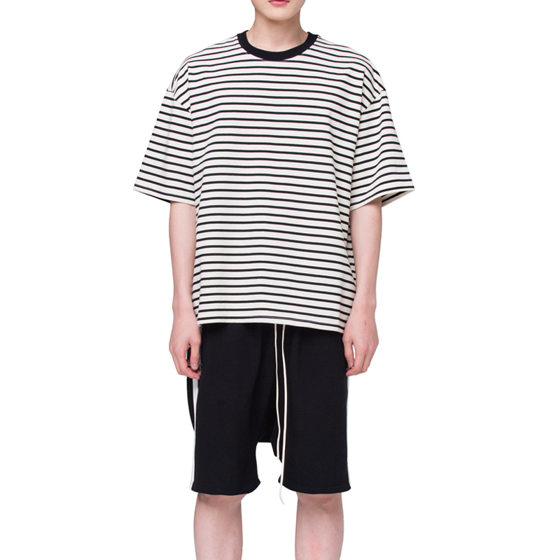 [RCNP] OVERSIZED STRIPE T-SHIRT (CREAM BLACK)