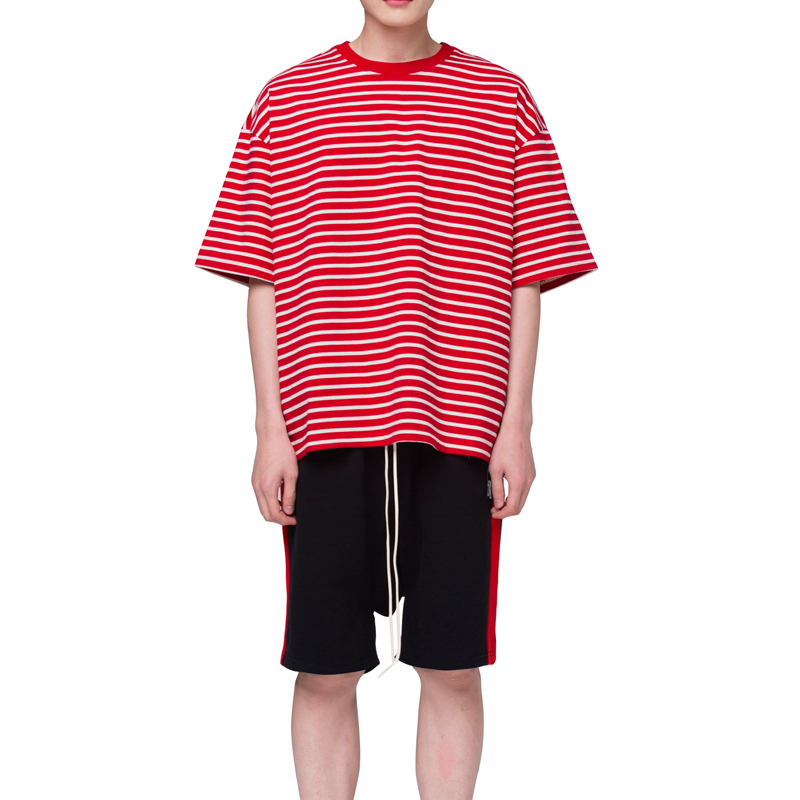 [RCNP] OVERSIZED STRIPE T-SHIRT (RED CREAM)