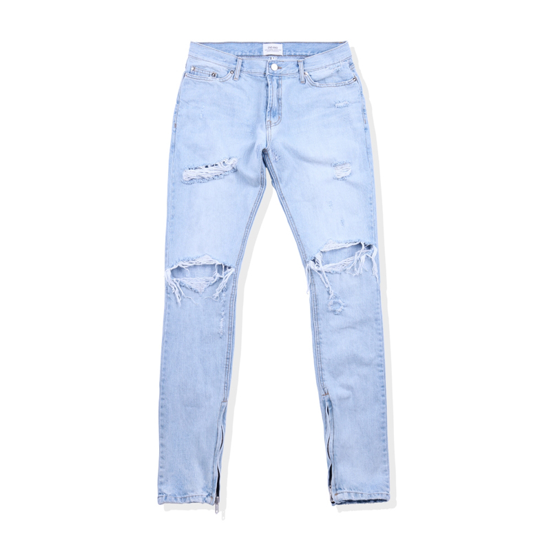 [END/AND] ESSENTIAL END DISTRESSED DENIM ZIP (LIGHT BLUE)