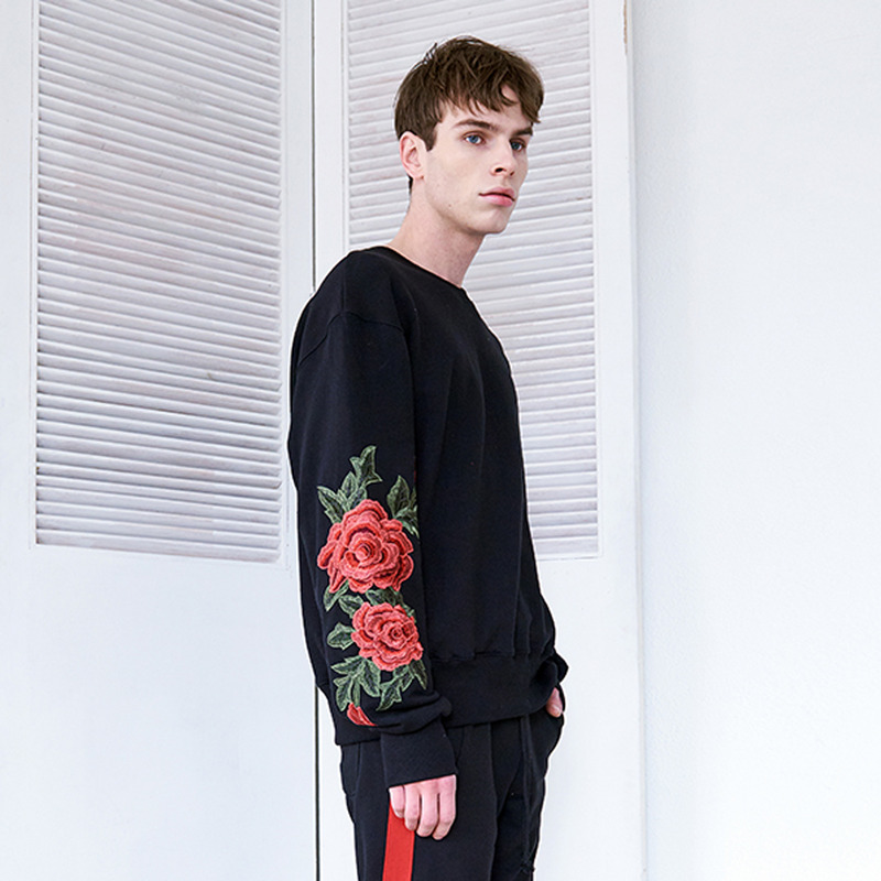 [IDIOTS] FLOWER SWEAT SHIRTS BLACK