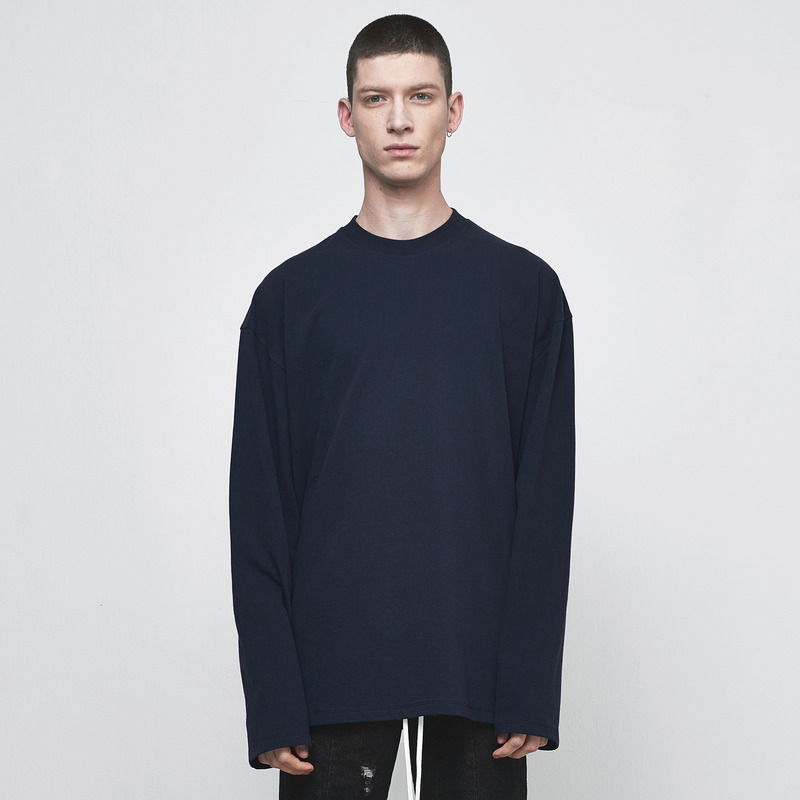 [D.PRIQUE] OVERSIZED LONG SLEEVE T-SHIRT / NAVY