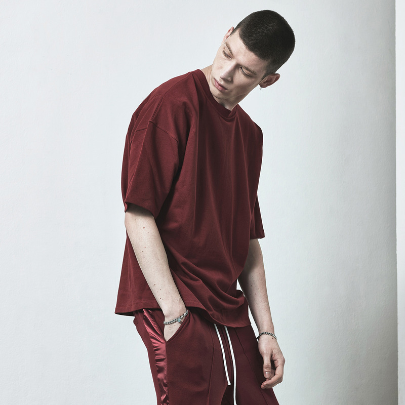 [D.PRIQUE] OVERSIZED BASIC T-SHIRT / OXBLOOD