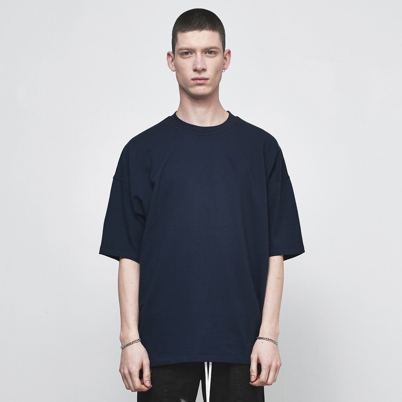 [D.PRIQUE] OVERSIZED BASIC T-SHIRT / NAVY