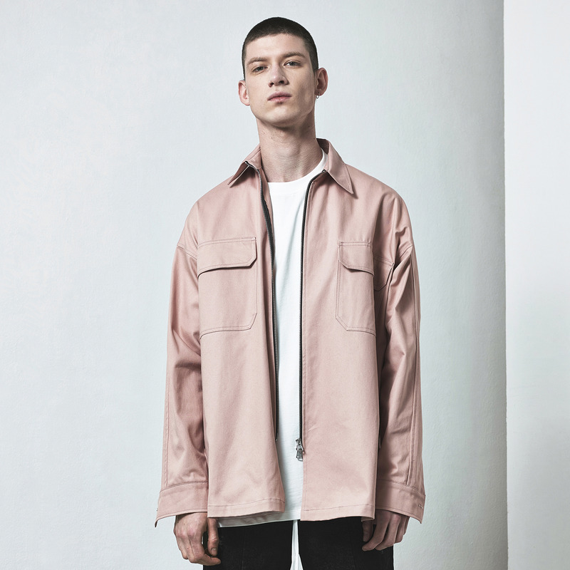 [D.PRIQUE] OVERSIZED ZIP SHIRT / PINK