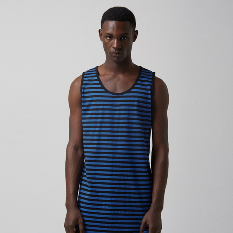 [TAKEASY] WASHED STRIPE CTN JRSY CREW NECK TOP(BLUE/BLACK)