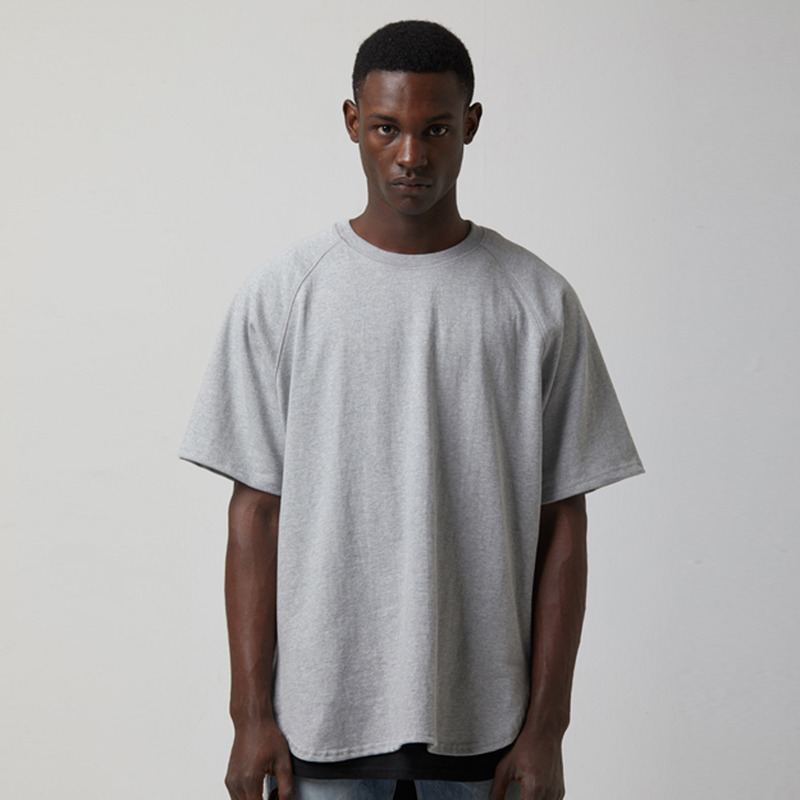 [TAKEASY] CTN JRSY CREW NECK RAGLRAN S/S TEE(MID HEATHER GREY)