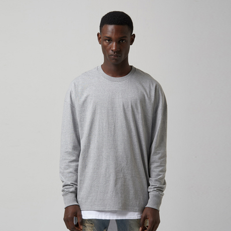 [TAKEASY] WASHED CTN JRSY CREW NECK L/S TEE(MID HEATHER GREY)