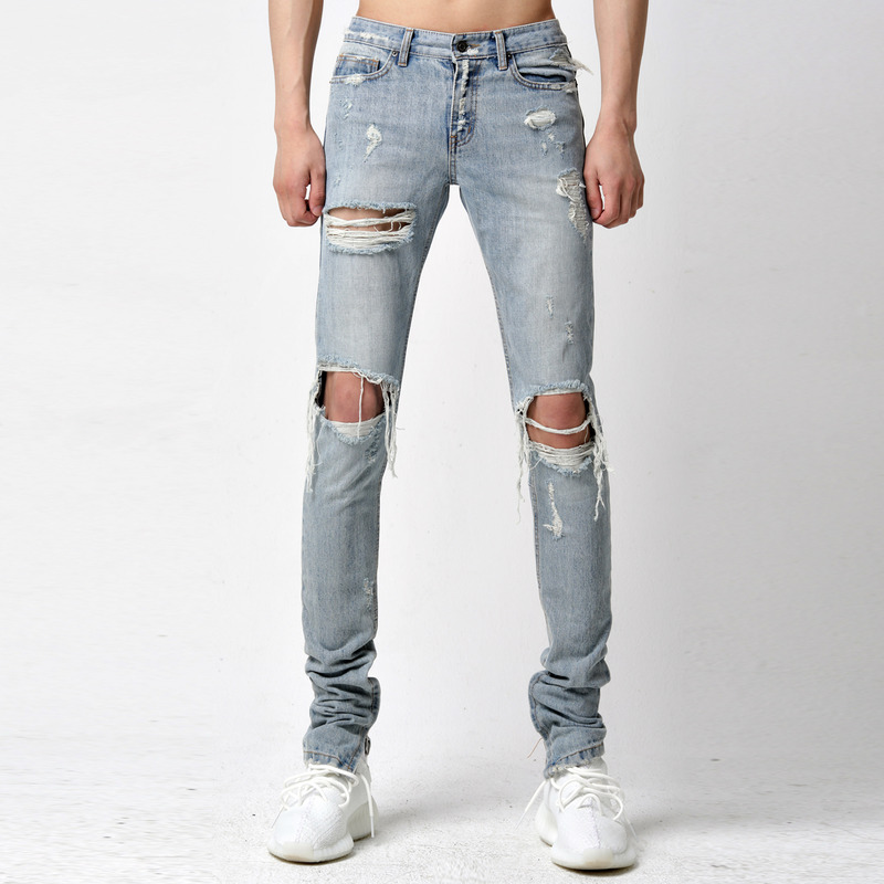[TAKEASY] VINTAGE WASH RIPPED SELVEDGE DENIM