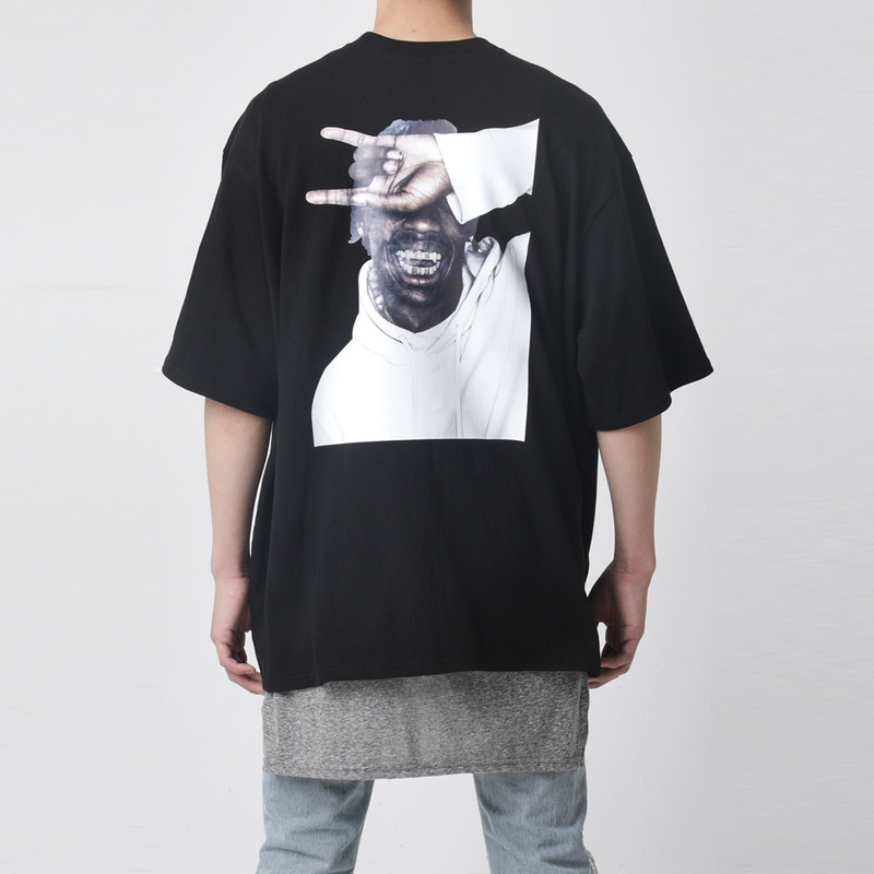 [TAKEASY] WASHED CREW NECK PRINT TEE(SMOKE)