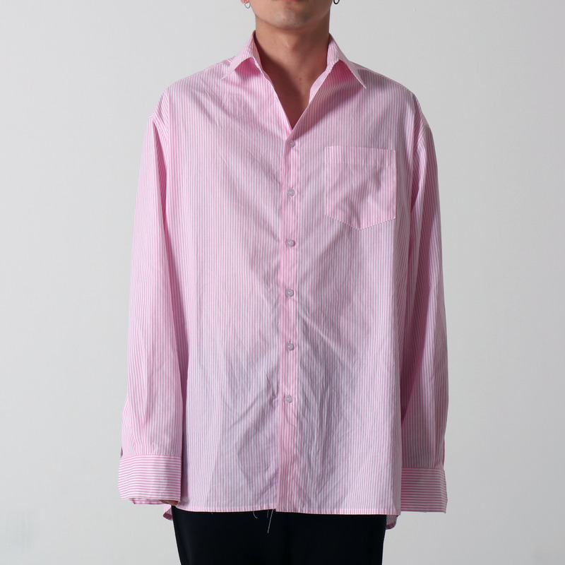 [쿠드그라스 연말 FINAL SALE] [COUPDEGRACE] PINK STRIPE OVERSIZED SHIRT