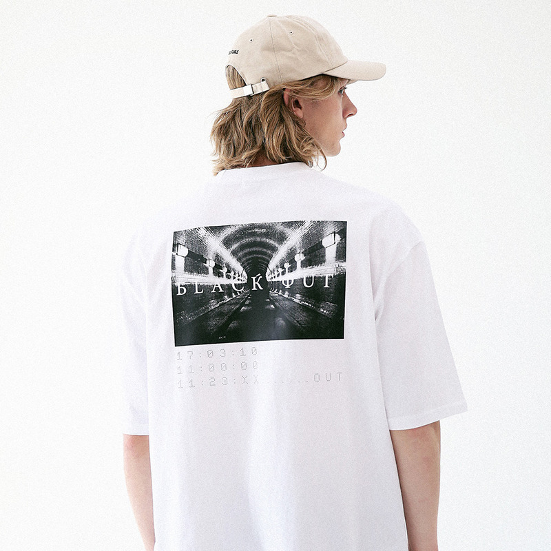 [MASSNOUN] BLACK OUT OVERSIZED T-SHIRT MUVTS004-WT