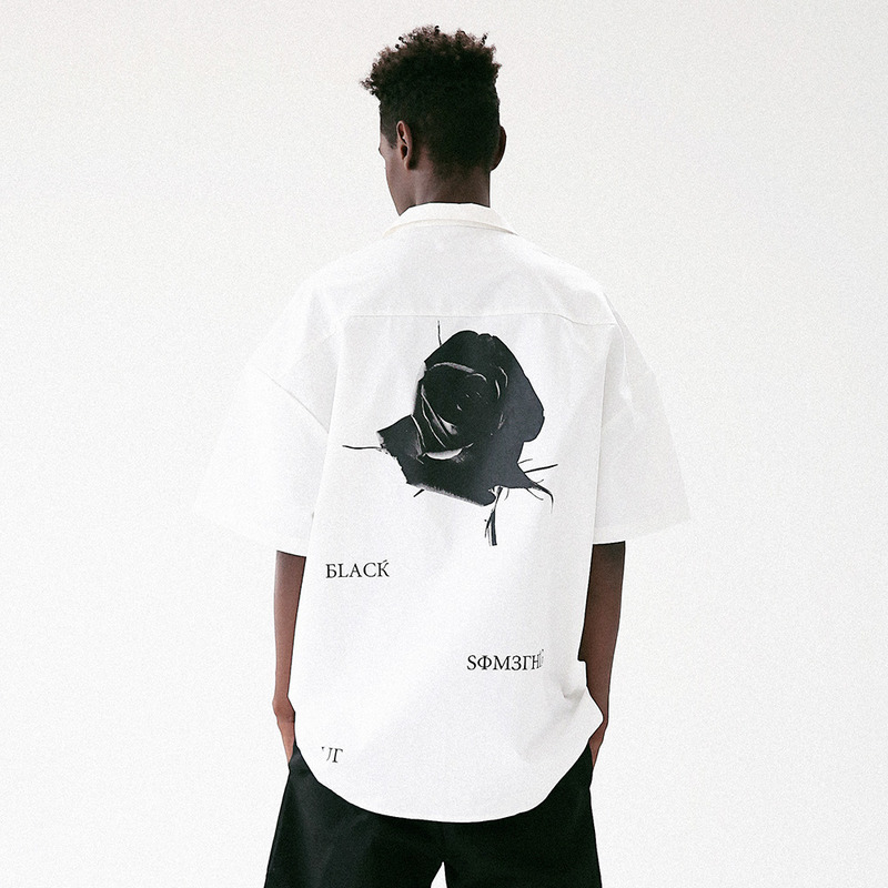 [MASSNOUN] BLACK ROSE OVERSIZED SHIRT MUVST002-WT