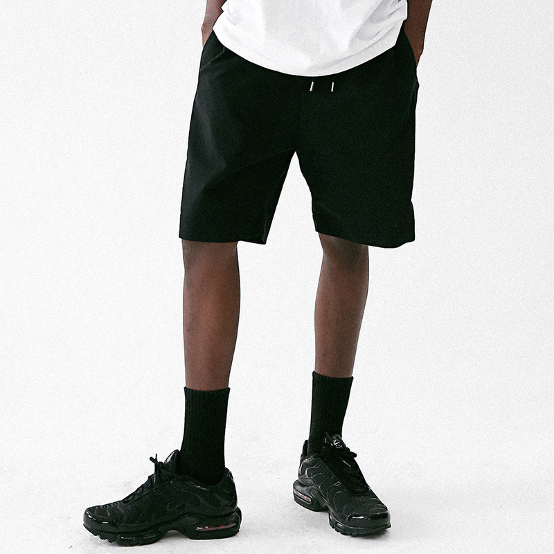 [MASSNOUN] LINEN SIDE VENT LOOSE SHORT PANTS MUVSP004-BK