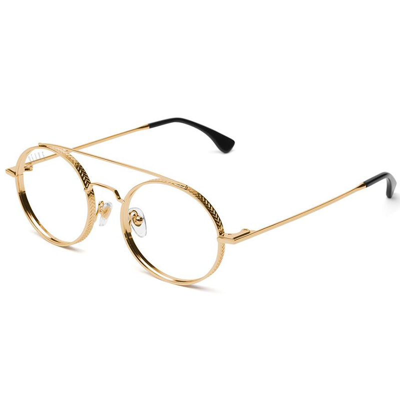 50-50 24K GOLD ROUND CLEAR LENS GLASSES