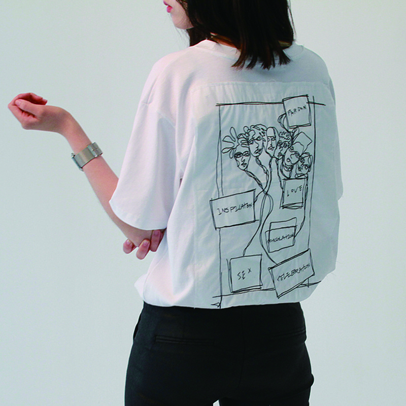 [MIWANSUNG] 17SS BACK NEEDLEWORK T-SHIRTS WHITE