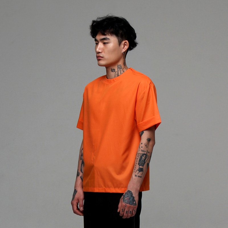 [NOVELLA] MODAL WOVEN ZIP TOP ORANGE