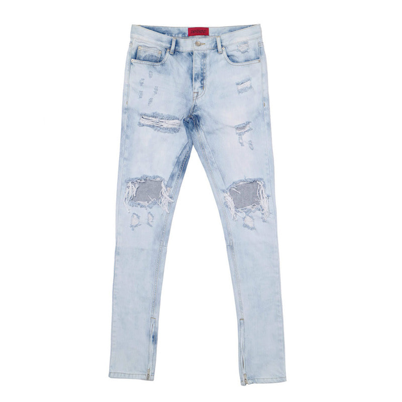 [DEADEND] LIGHT BLUE ZIPPER DENIM JEANS