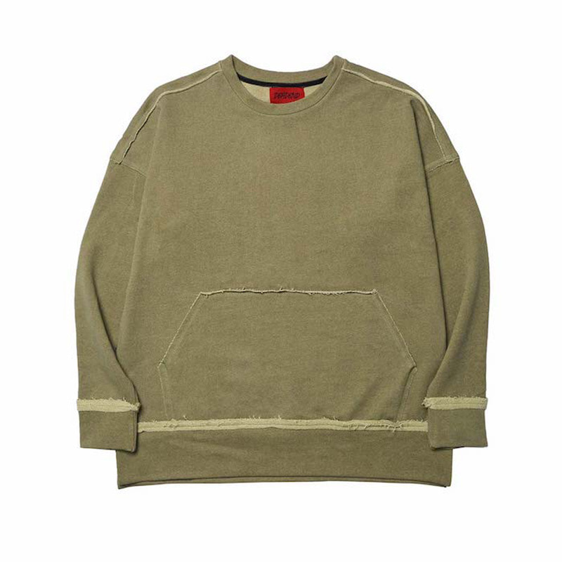 [DEADEND] KHAKI RAW EDGE SWEAT SHIRTS