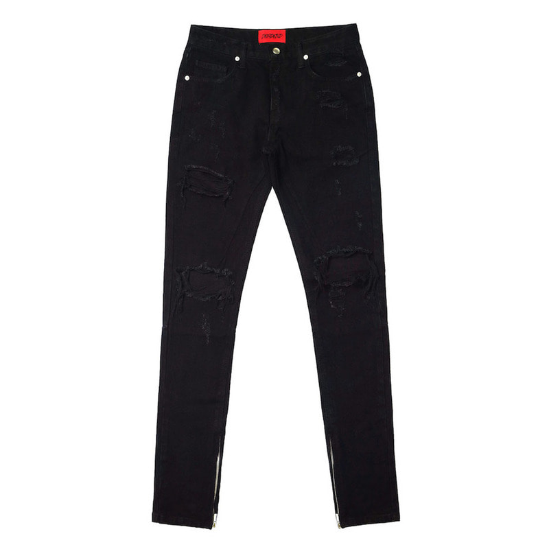 [DEADEND] BLACK DESTROYED ZIPPER DENIM JEANS