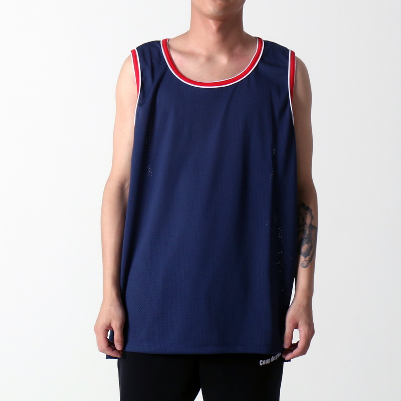 [$ SHOP SALE] [EPTM] HI LO MESH TANK (NAVY)