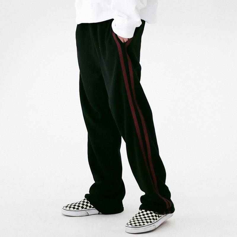[MASSNOUN] ELLIPTICAL LINE WIDE SWEAT PANTS MFVTT001-BK
