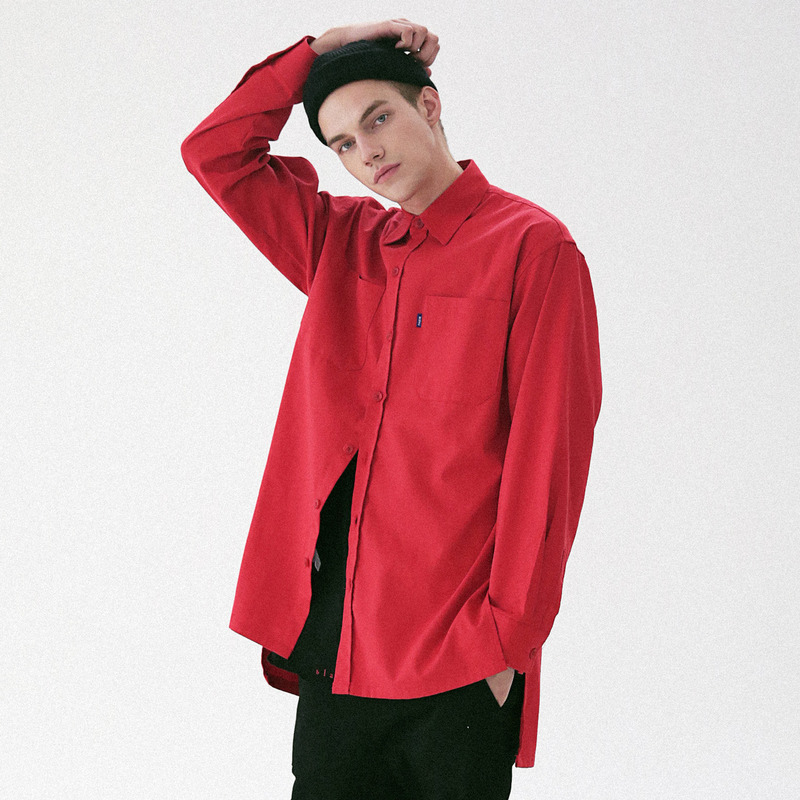 [MASSNOUN] D-ORNAMENT SIDE VENT LONG SHIRT MFVST001-RD