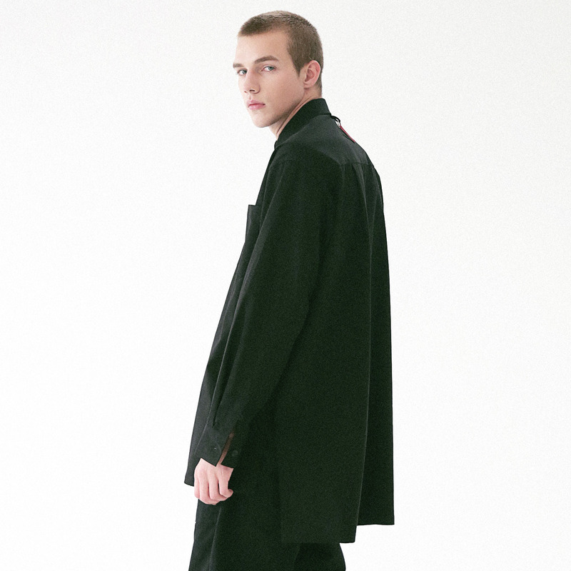 [MASSNOUN] D-ORNAMENT SIDE VENT LONG SHIRT MFVST001-BK